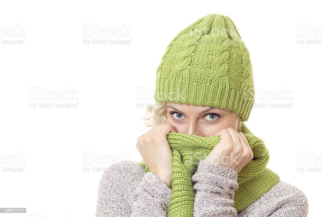 Woman covered her mouth and nose or face with scarf stock photo