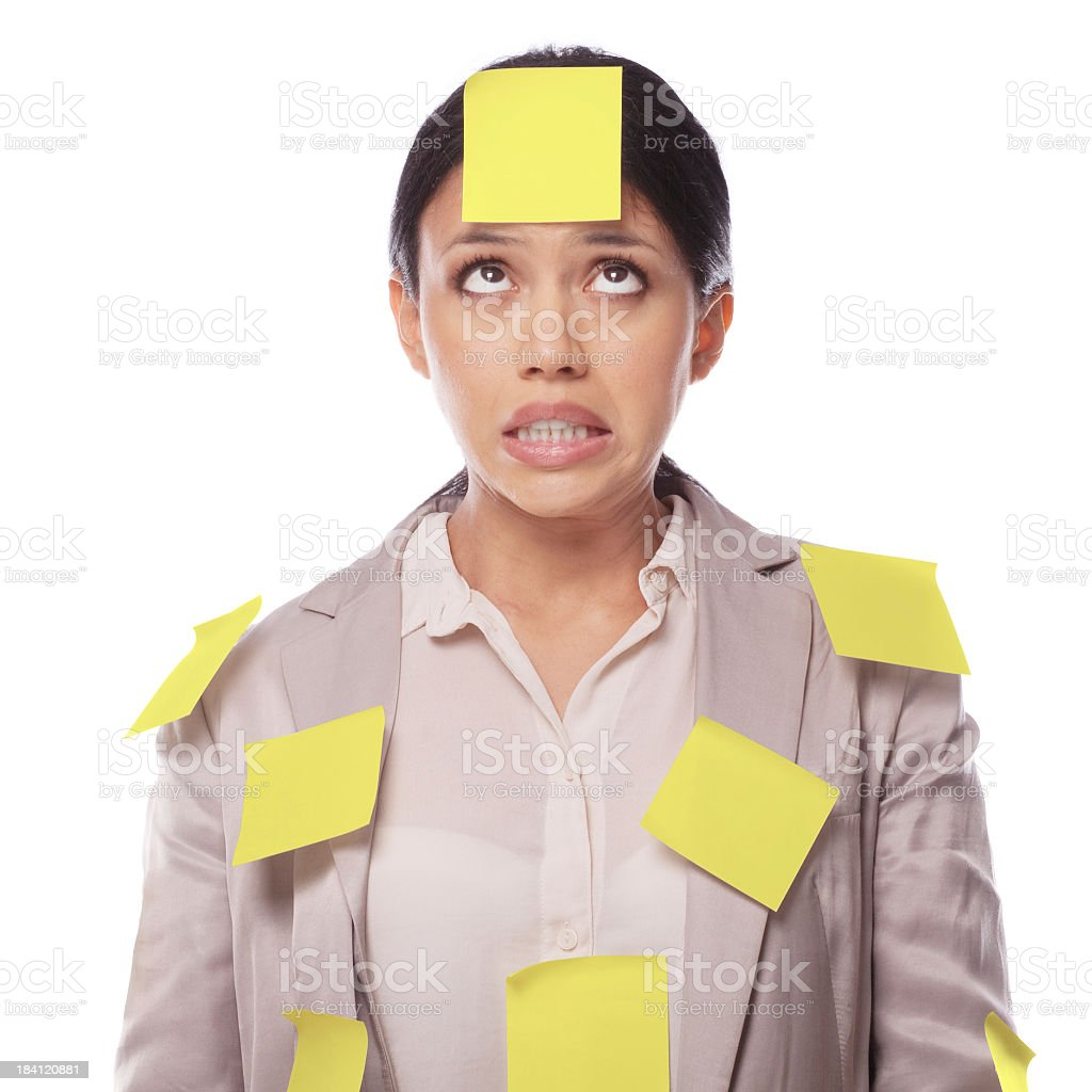 Woman covered in yellow sticky notes royalty-free stock photo