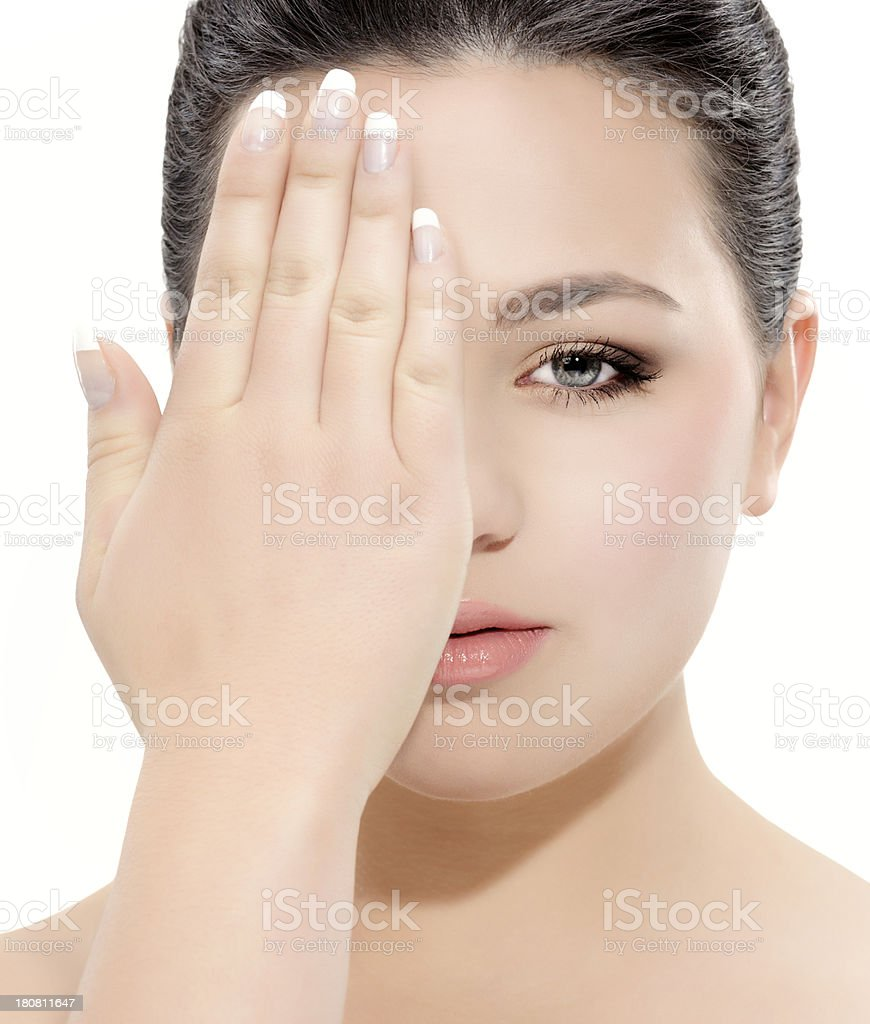 woman covering eye royalty-free stock photo