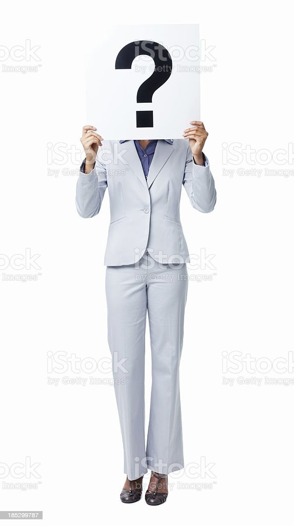Woman Covering Her Face With Question Mark Sign - Isolated stock photo