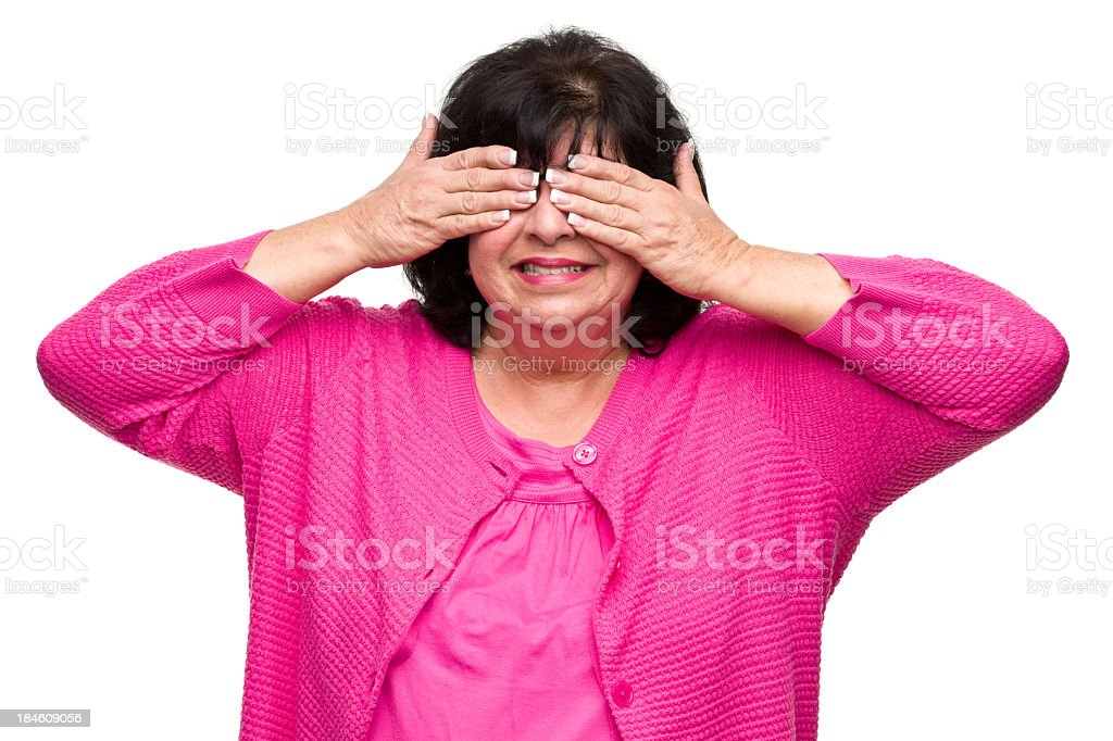 Woman Covers Eyes With Hands royalty-free stock photo