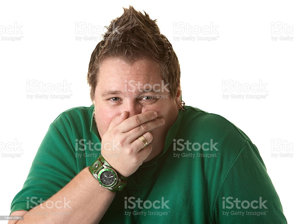Woman Covers Her Nose royalty-free stock photo