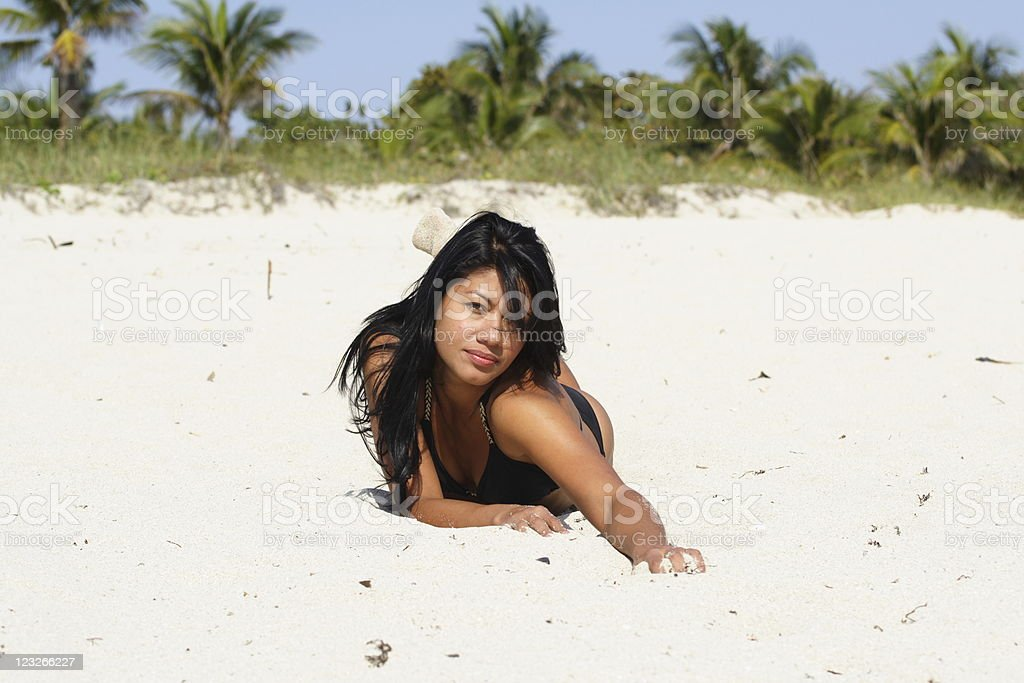 Woman Crawling On The Sand royalty-free stock photo