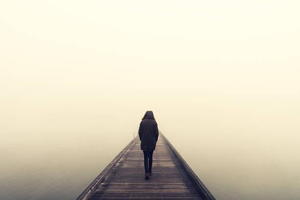 Woman Crossing The Bridge stok fotoğrafı
