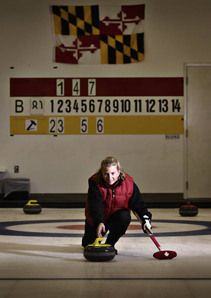 Woman Curling stock photo