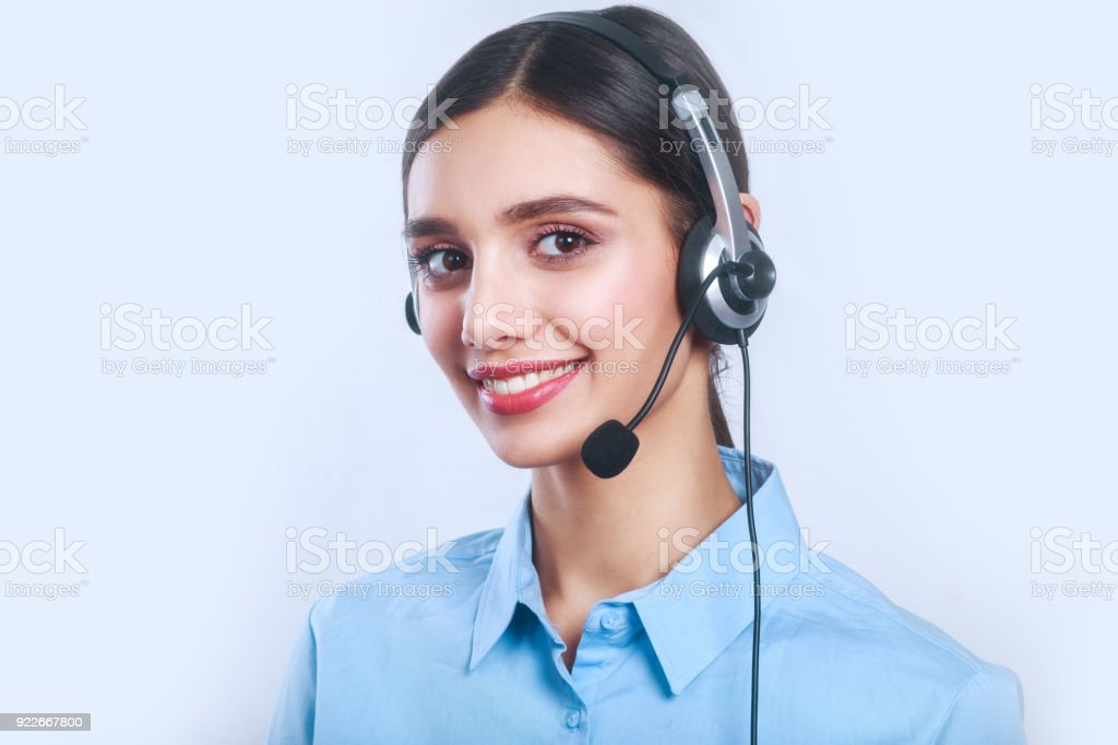 Woman Customer Service Worker Call Center Smiling Operator With Phone Headset Stock Photo Download Image Now Istock