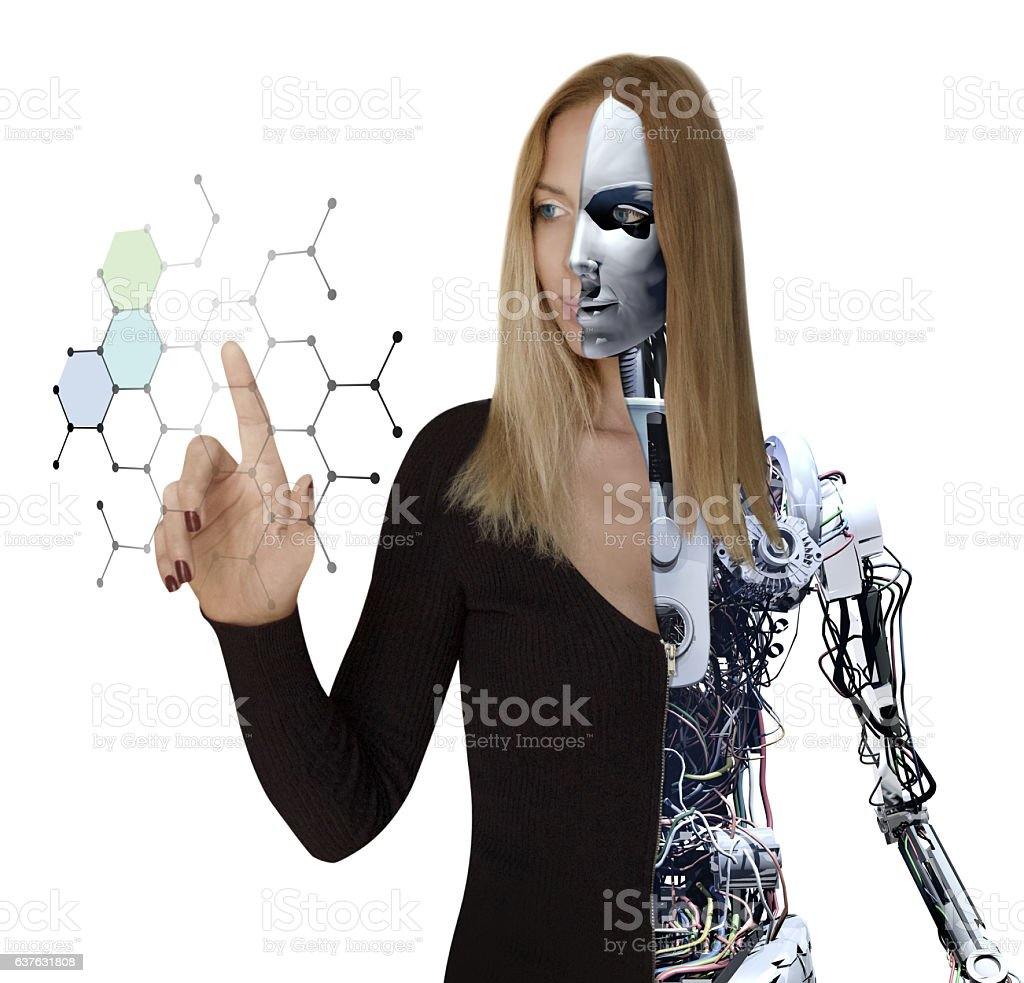 Woman Cyborg and Interactive Media Technology stock photo