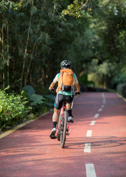 Woman cyclist riding mountain bike in park stock photo