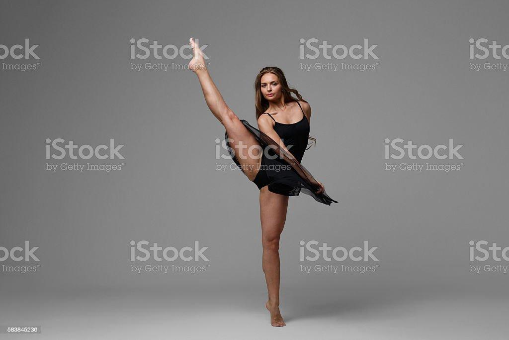 Woman dance studio beautiful stock photo