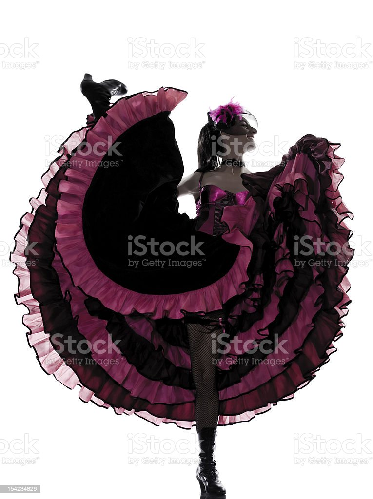 woman dancer dancing french cancan stock photo