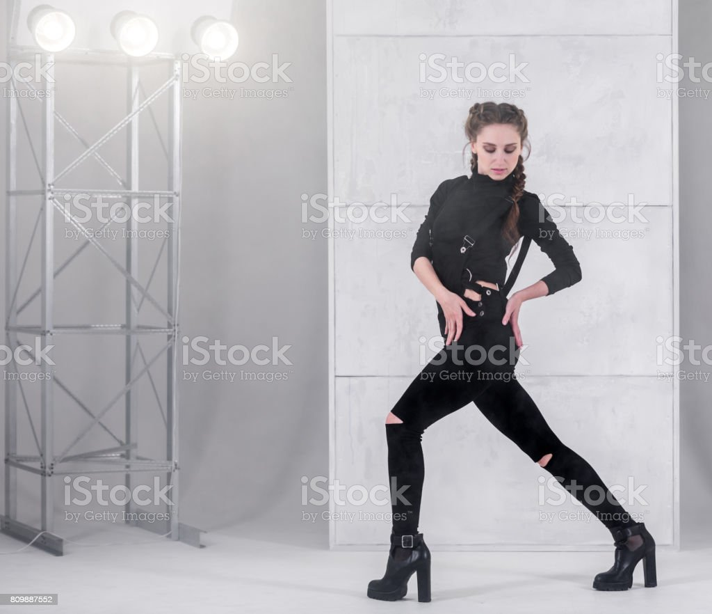 Woman Dancer Is Dancing In Modern Style stock photo