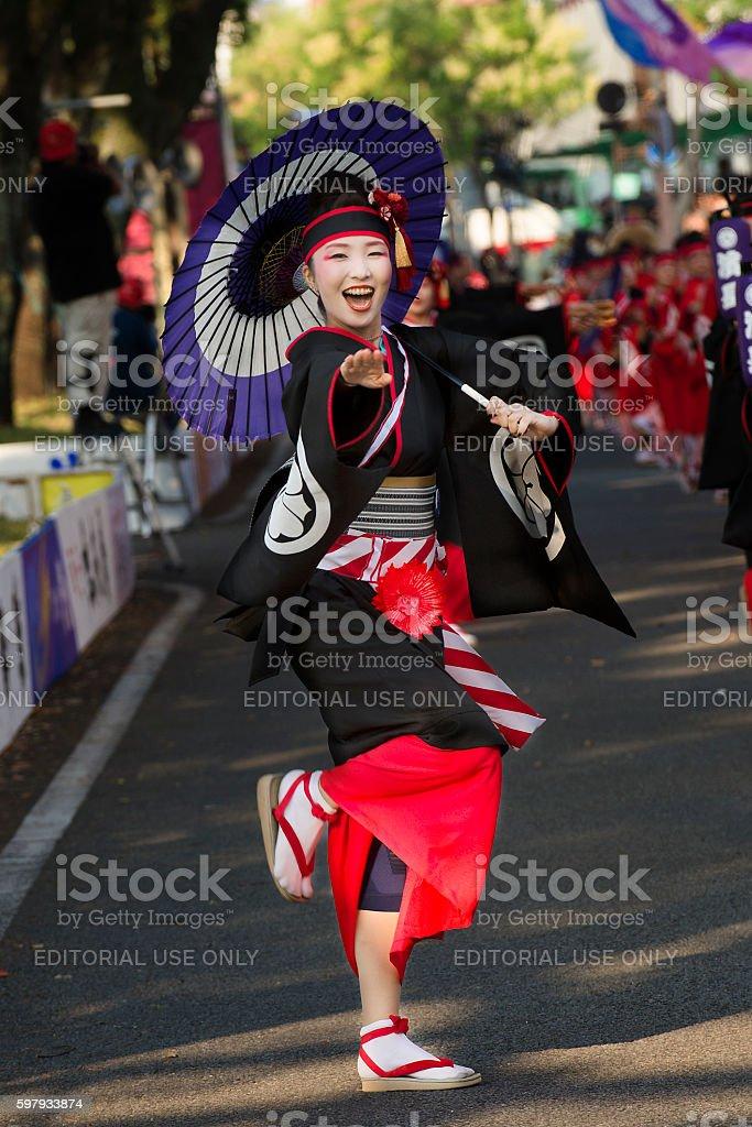 Woman dances in Yosakoi Festival in Kochi Japanal stock photo