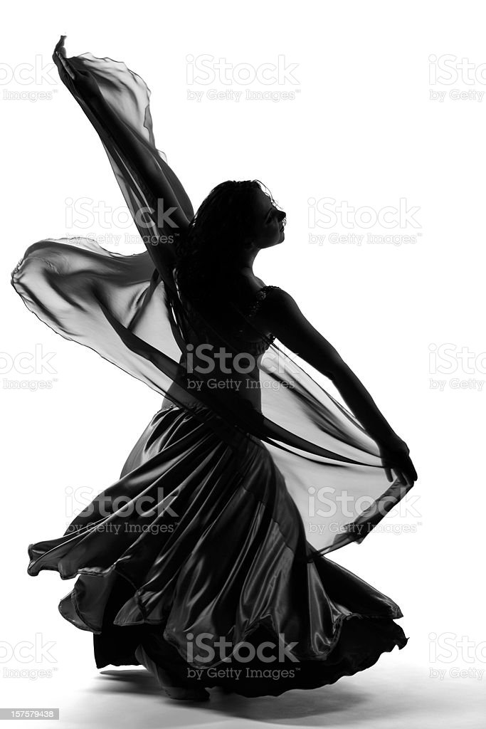Woman dancing in  fancy dress stock photo
