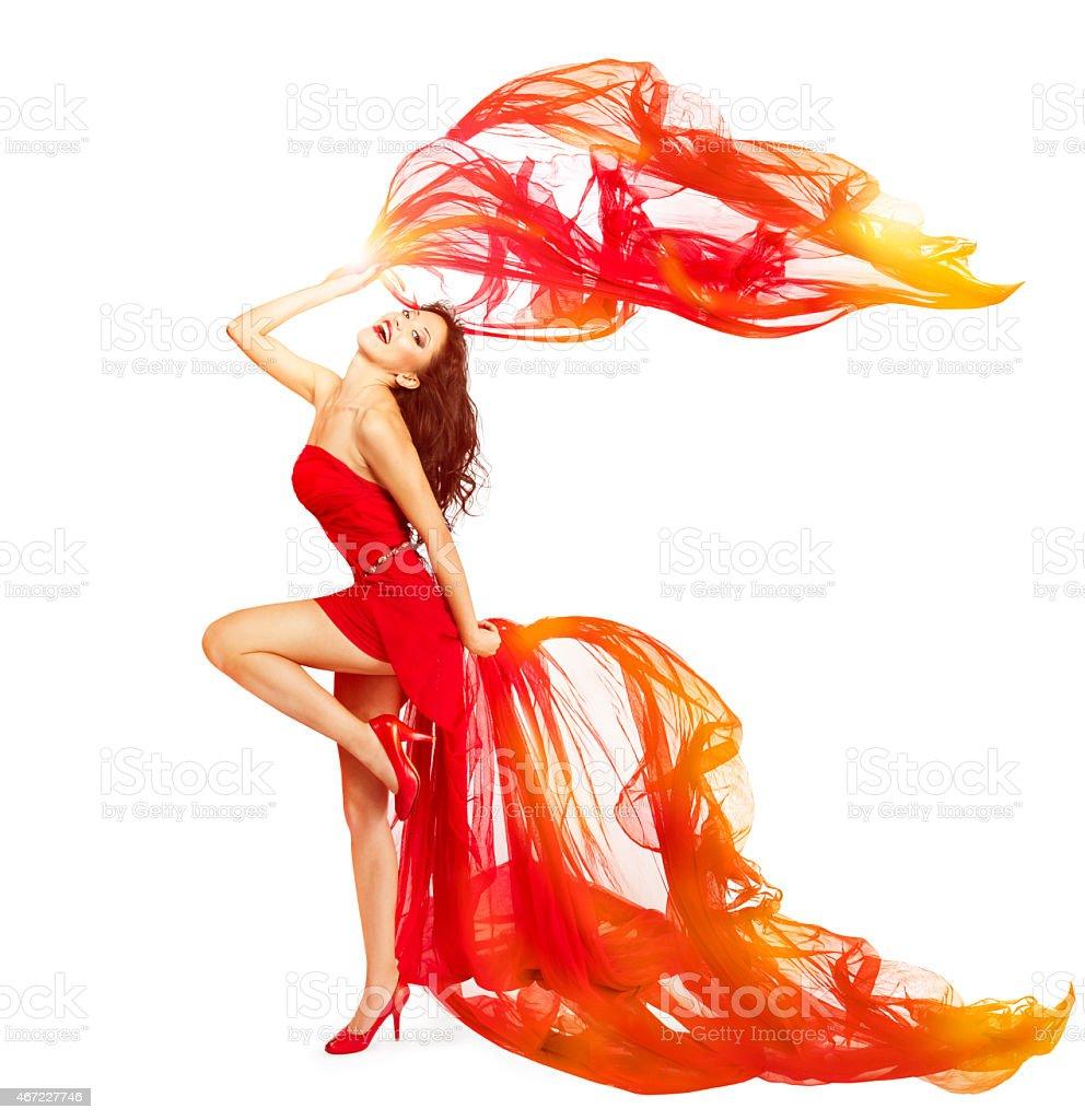 Woman Dancing in Red Dress, Cloth Flying Waving, Girl Dance stock photo