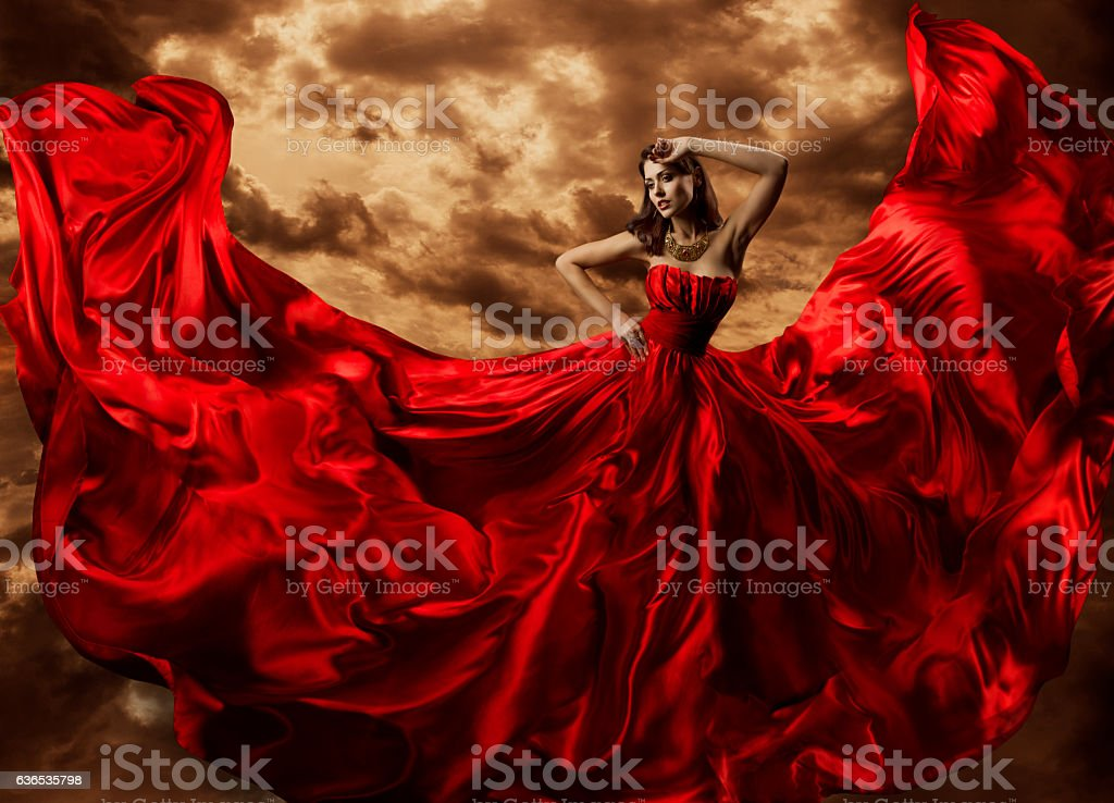 Woman Dancing Red Dress, Fashion Model Dance Flying Gown Fabric stock photo