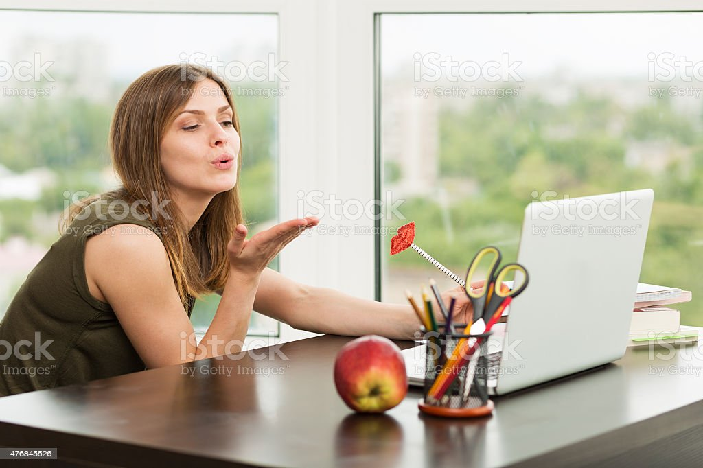 Woman dating online stock photo