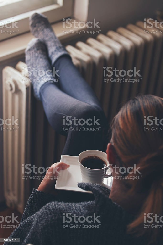 woman deinking coffe stock photo