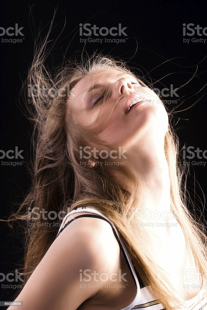 Woman delighting face royalty-free stock photo