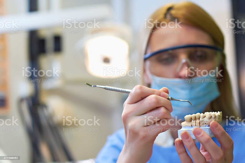 Woman dentist at her office stock photo