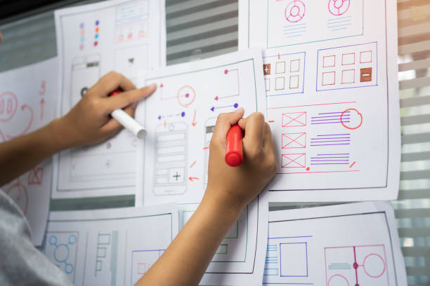 woman design engineer for ux architect template framework layout developer project mobile application on wall paper work in office with pen. Planning of development in program website interface ideas stock photo