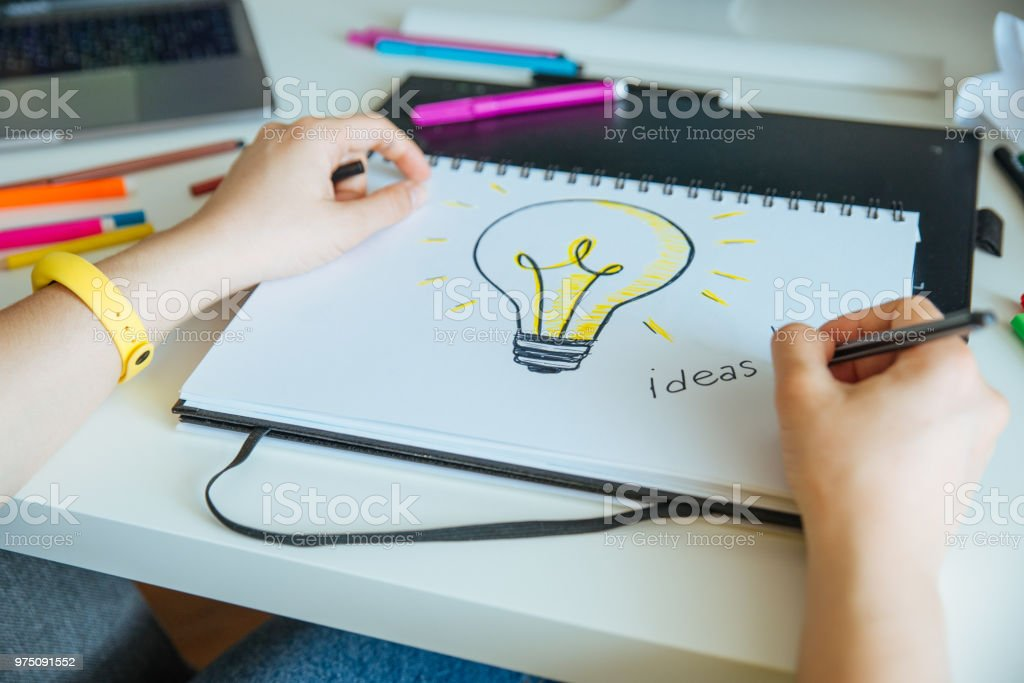 woman designer working at home. workplace. ideas stock photo