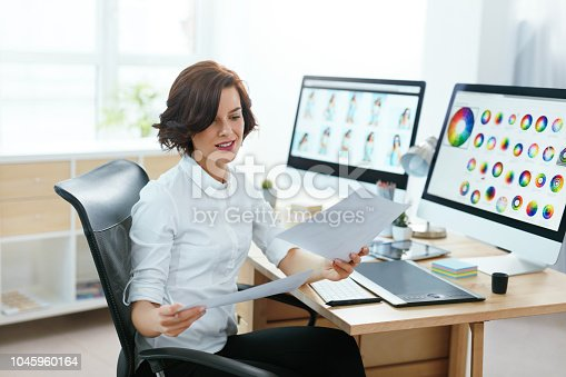 istock Woman Designer Working On Computer In Office 1045960164