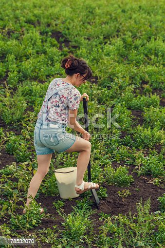 woman digging a shovel in a field