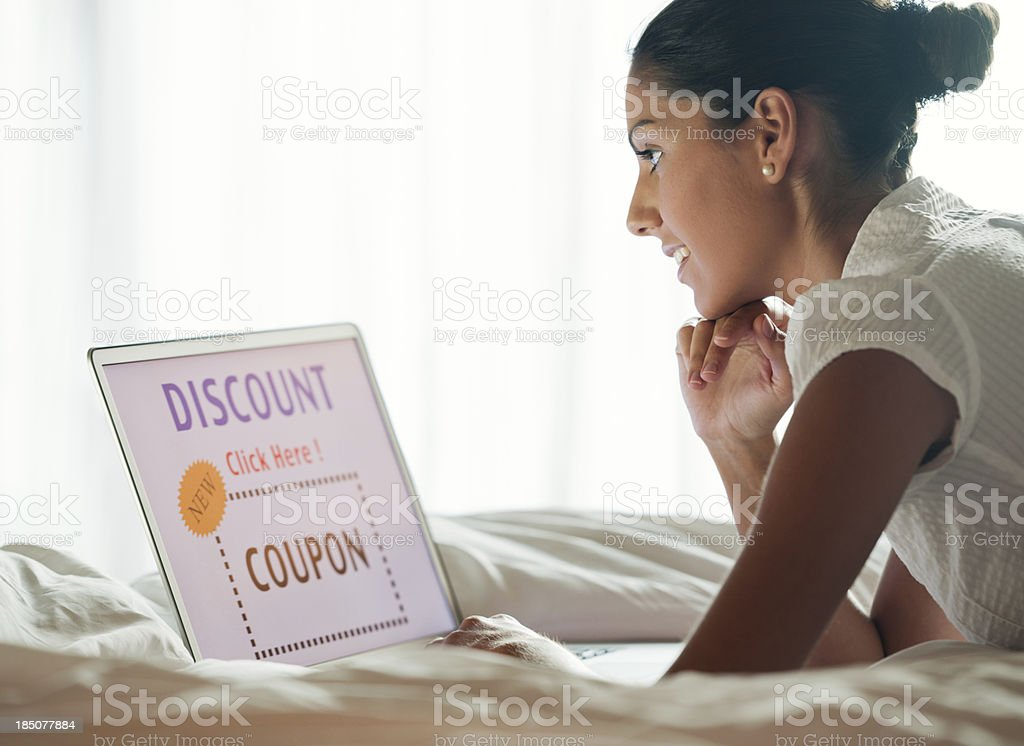Woman Discount Shopping in Bed (XXXL) royalty-free stock photo