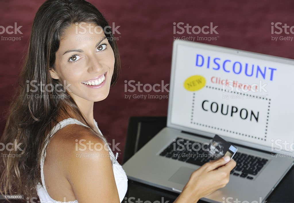 Woman Discount Shopping Online with her Credit Card (XXXL) royalty-free stock photo