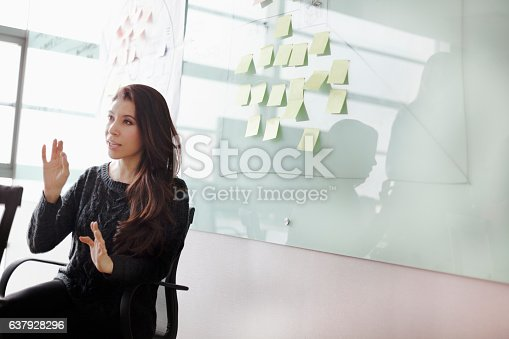 1063657732 istock photo Woman discussing ideas and strategy in studio office 637928296