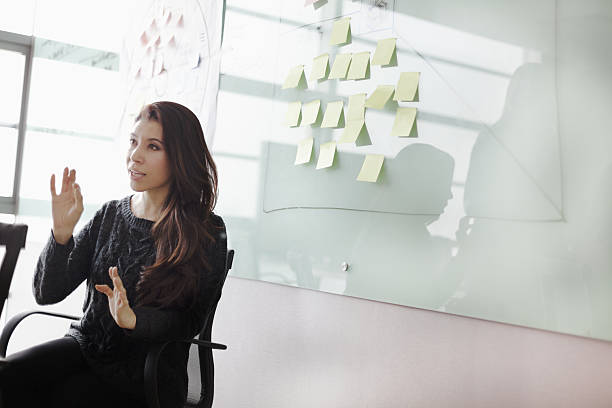 woman discussing ideas and strategy in studio office - market research stock photos and pictures