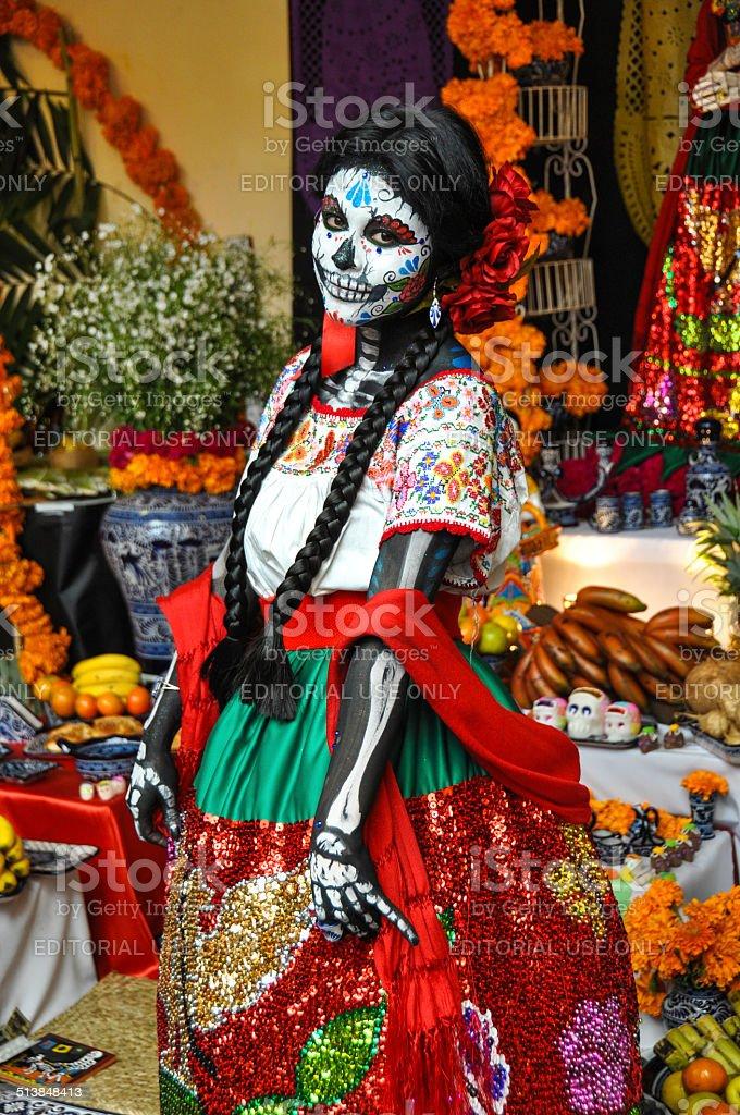 Woman disguised for Dia de los Muertos, Puebla, Mexico stock photo