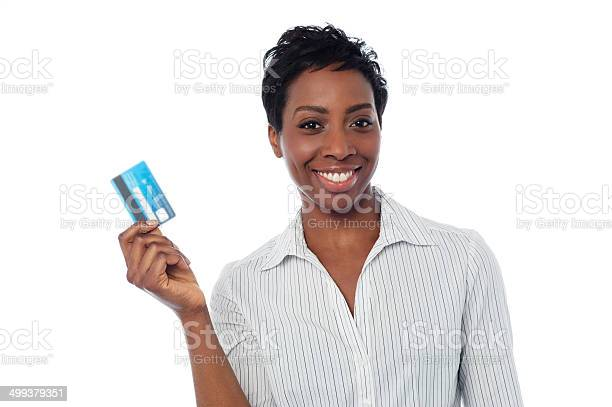 Woman Displaying Her Cash Card Stock Photo - Download Image Now