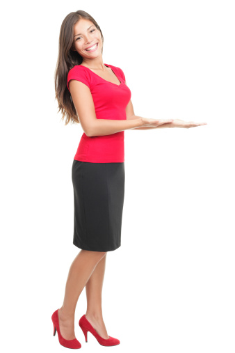 istock Woman displaying / showing product copy 146903361