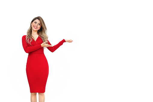 istock Woman displaying / showing product copy 638192142