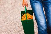 Woman disposing of vegetable waste