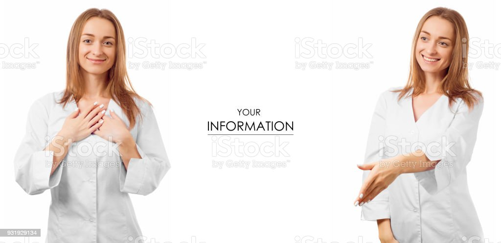 Woman doctor in a medical gown confidence caring for health medicine set pattern stock photo