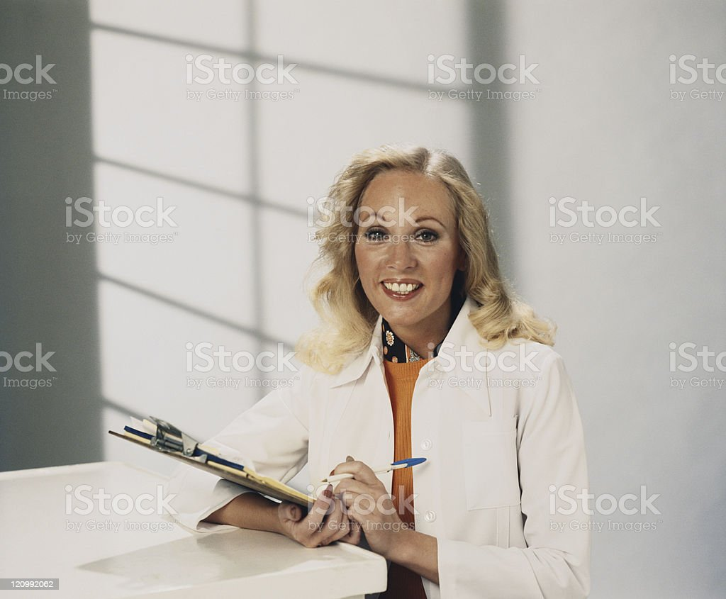 Woman doctor in hospital stock photo
