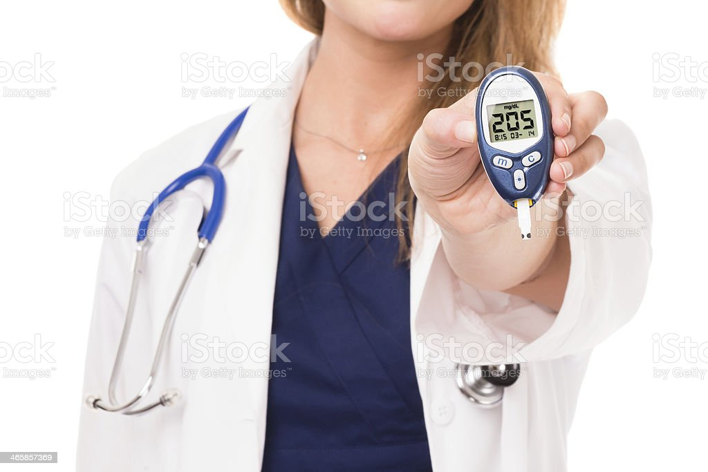 Woman Doctor Nurse with Glucose Meter Isolated on White Background stock photo