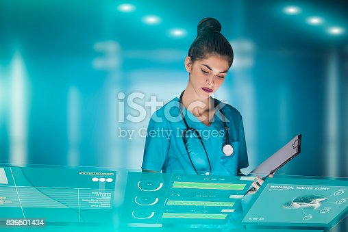 864464934istockphoto woman doctor or nurse futuristic concept, that is using a holographic medical workstation panel in order to monitor health data of a patient in the hospital, advertising image with copy space 839501434