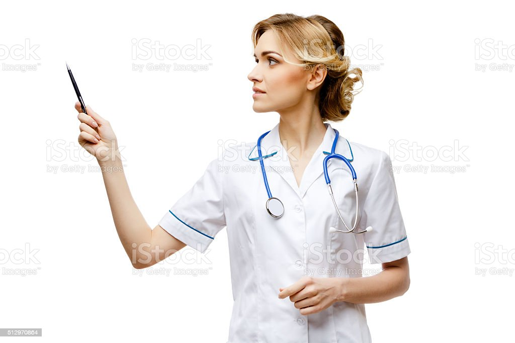 Woman doctor standing on white background stock photo