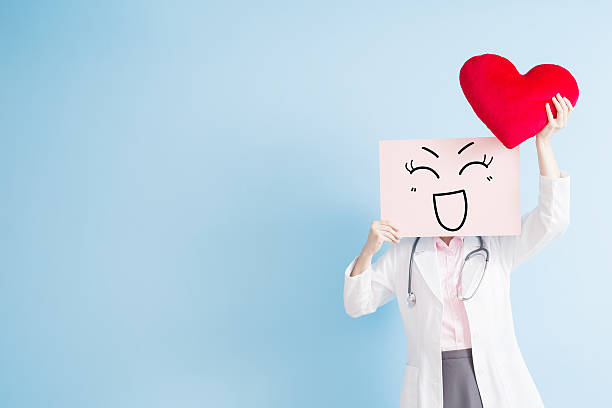 woman doctor take smile billboard - excited emoji stock photos and pictures