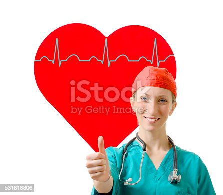 1035479448 istock photo Woman doctor thumb up for heart care 531618806