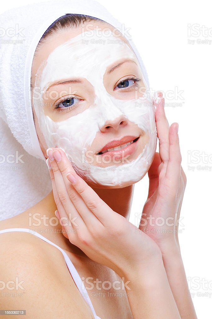 woman doing cosmetic mask royalty-free stock photo