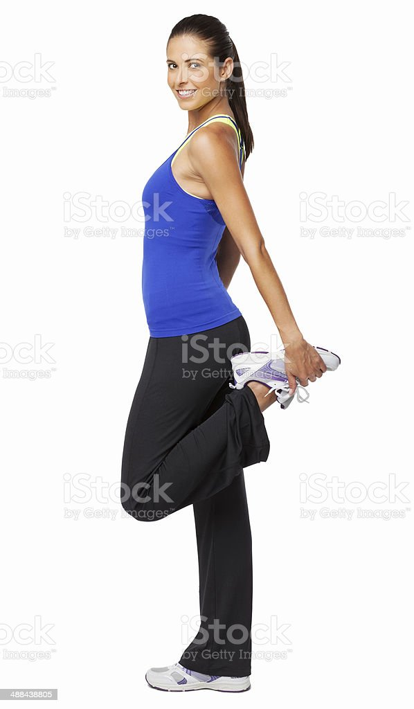 Woman Doing Fitness Exercise - Isolated stock photo