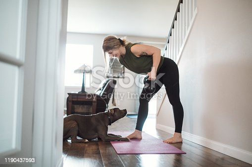 An adult woman does yoga and strength training exercises on a mat in her living room, her pet dog keeping her company and trying to play.