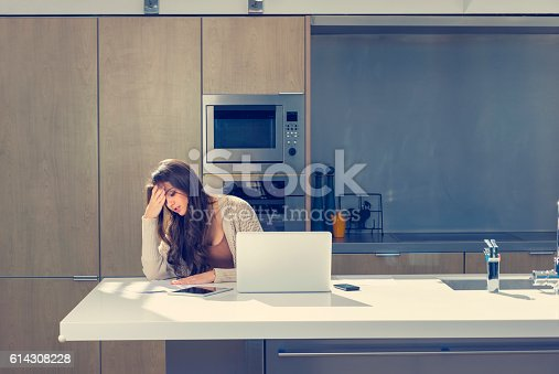 istock Woman doing paperwork with a laptop and digital tablet. 614308228