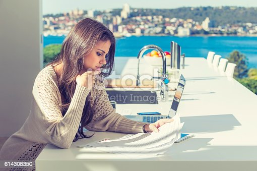 istock Woman doing paperwork with a laptop and digital tablet. 614308350