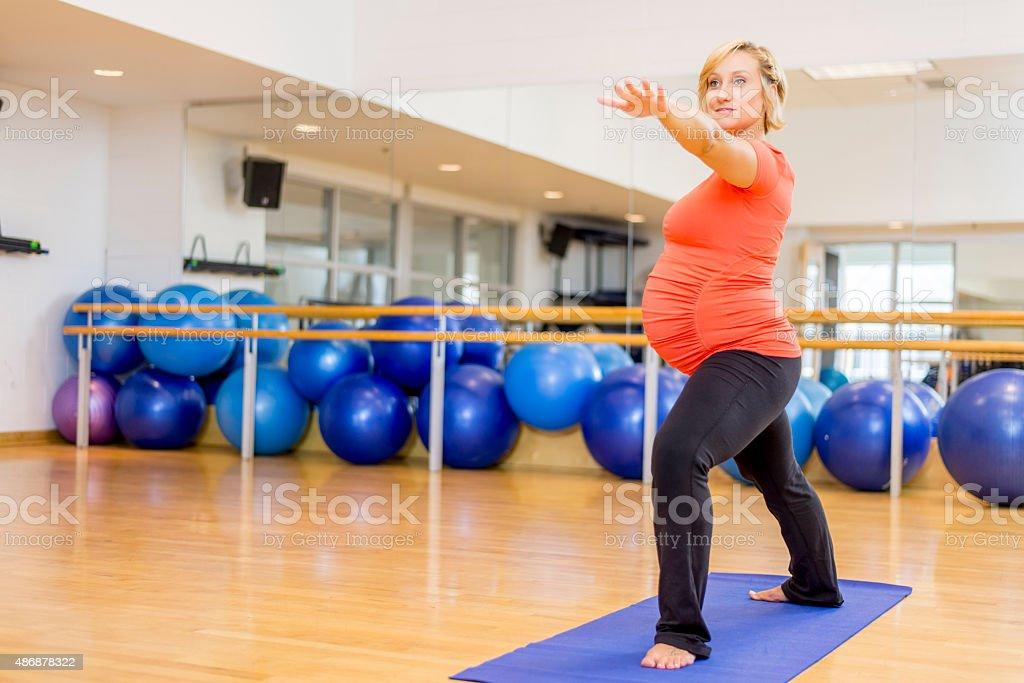 Woman Doing Prenatal Woman stock photo