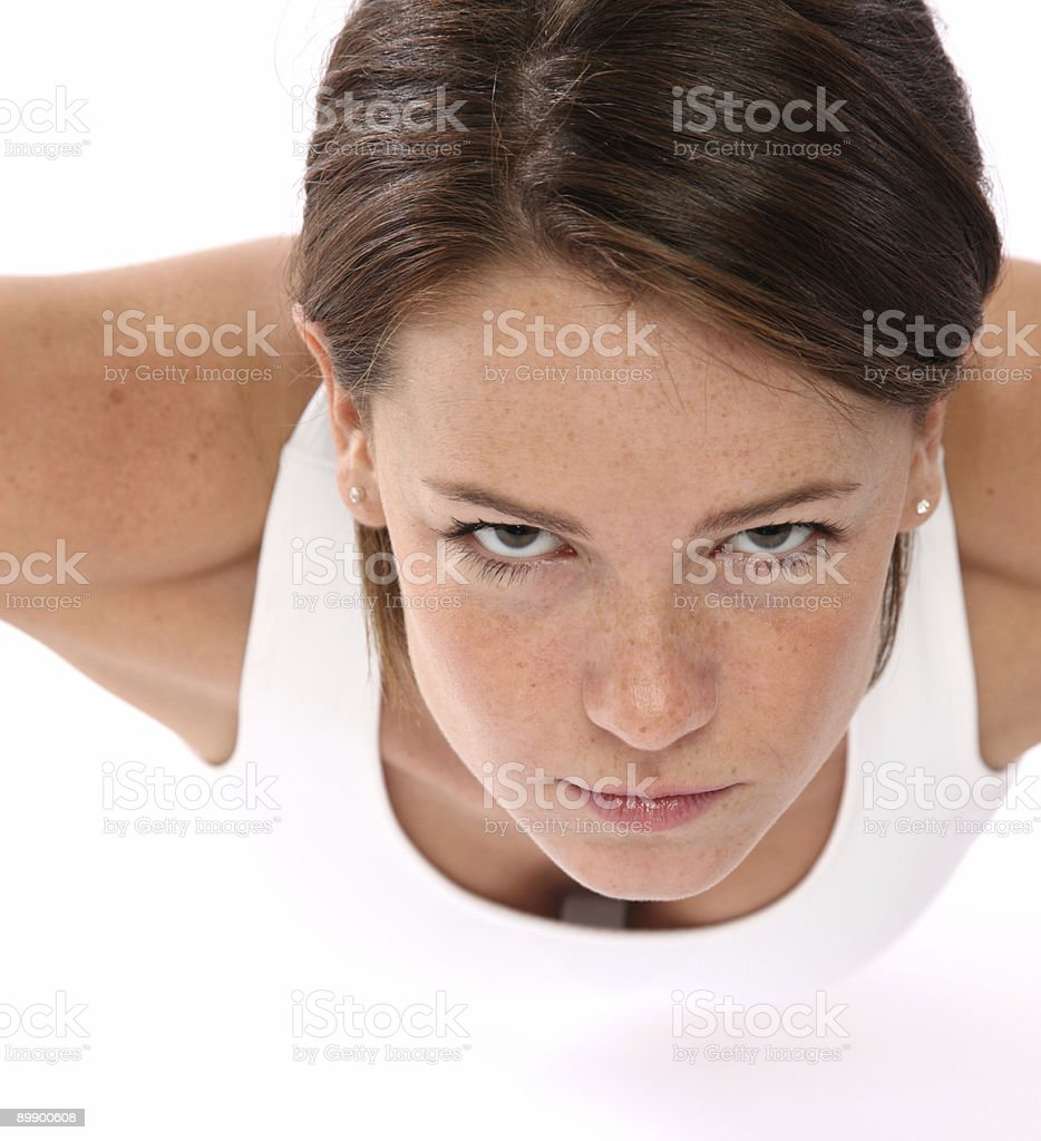 Woman doing push ups royalty-free stock photo